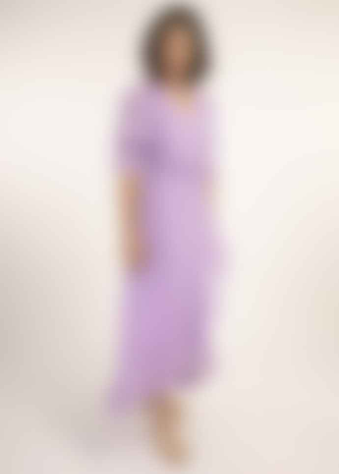 FRNCH Frill Front V Neck Dress Lilac