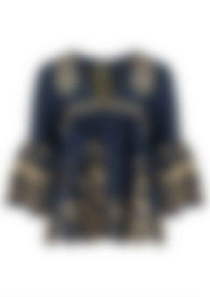 Greek Kori Blouse In Navy And Gold 250011