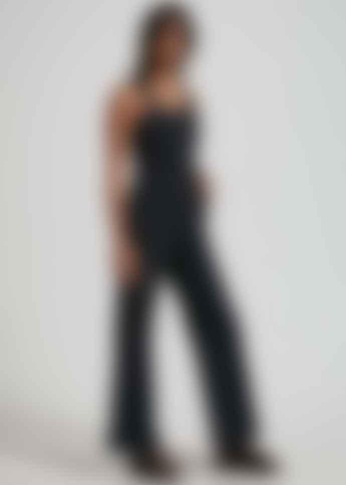 Afends Arlo Organic Denim Floral Jumpsuit Black