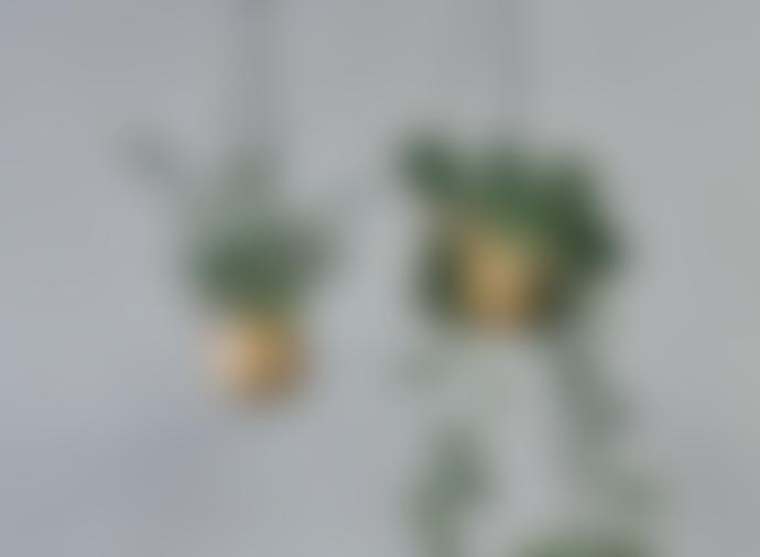 Nkuku Atsu Brass Hanging Planter