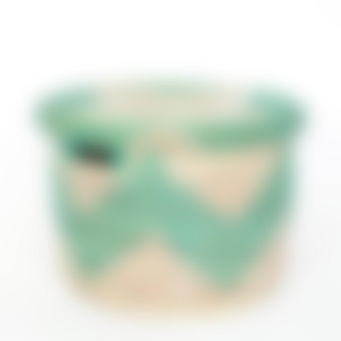 Afroart Small White/Turquoise Sene Simon Basket with Lid