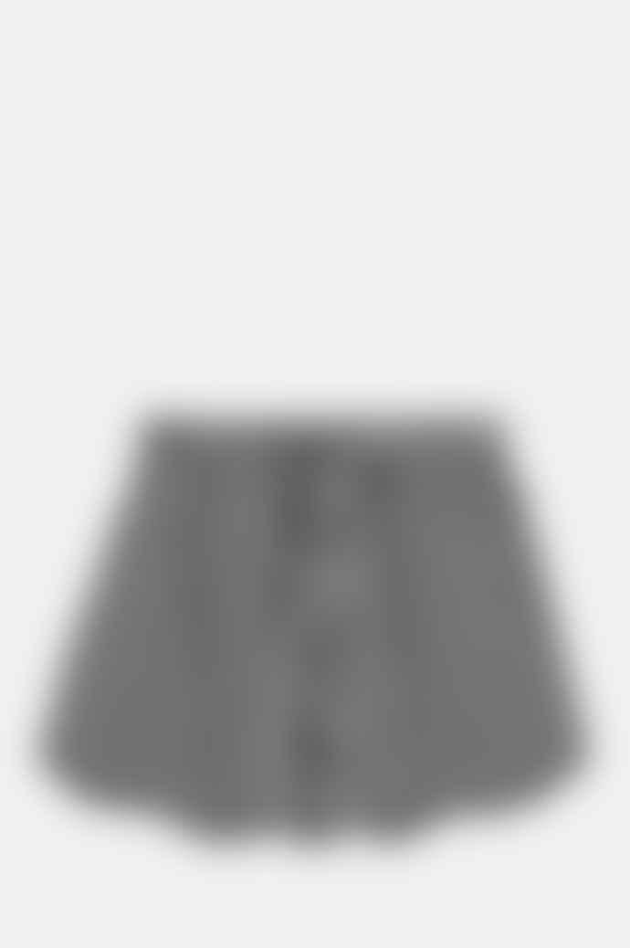 Ganni Seersucker Check Black Shorts