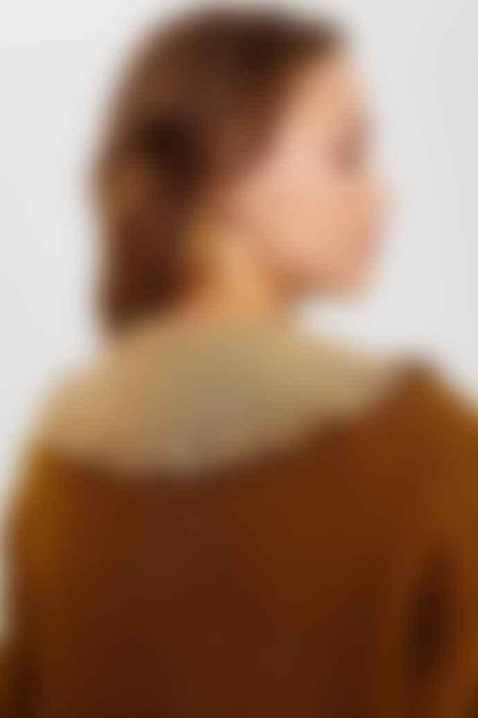 Numph Brown Nucheckie Collar Top