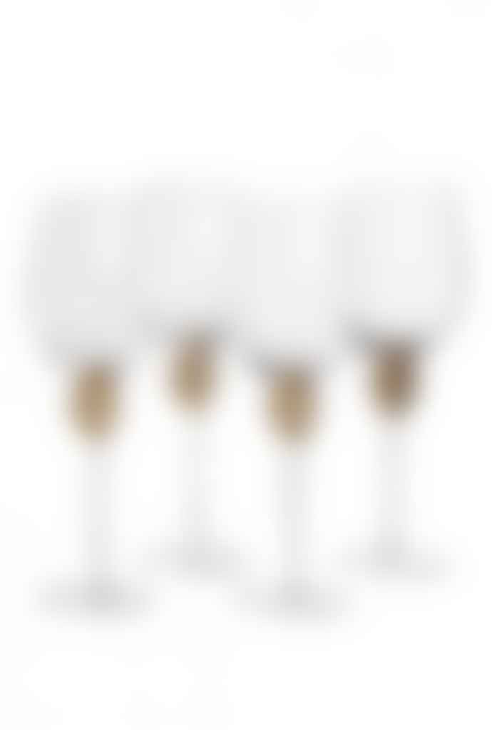 The Sue Parkinson Home Collection Set of 4 Gold Diamante White Wine Glasses