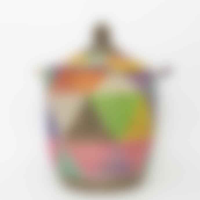 Afroart Multicolored Sene Tivoli Laundry Basket, Small size.