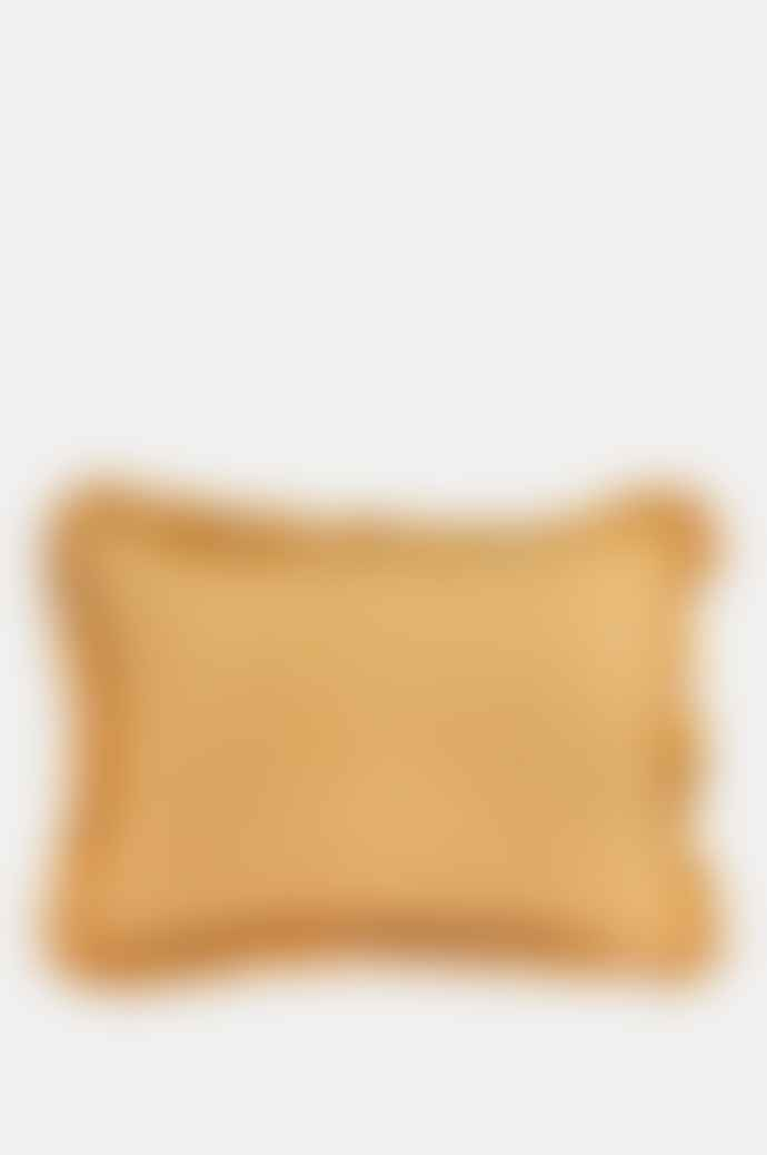 Projektityyny Wes Gingham Frill Mustard Cushion