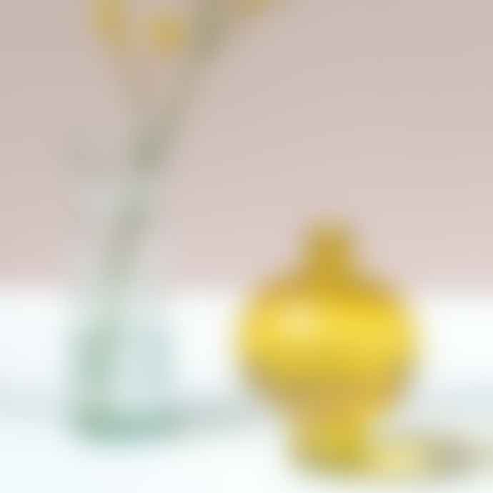 Urban Nature Culture Vase Recycled Glass Round Yellow