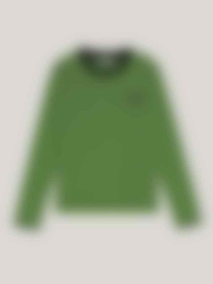 Ganni Software Striped Jersey O Neck T Shirt Flash Green