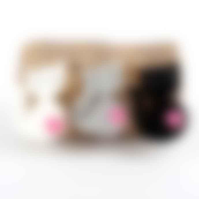 Sjaal met Verhaal Black Wool Felt Cat Keychain