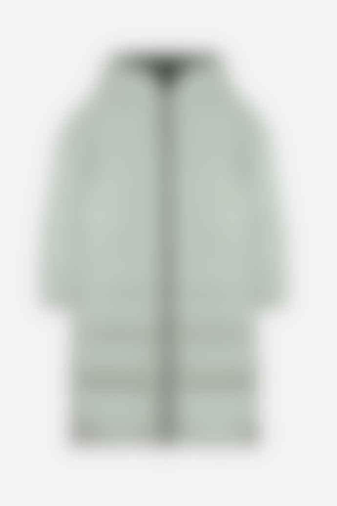 Rino and Pelle Keila Reversible Long Hooded Puffer In Desert Sage Black Olive