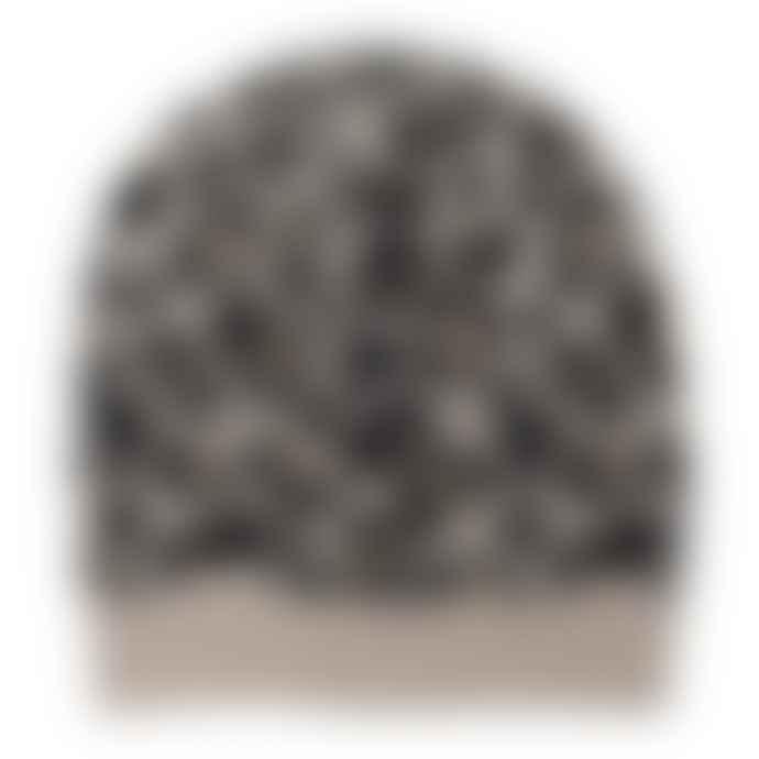 Somerville Leopard Knitted Beanie Black Camel