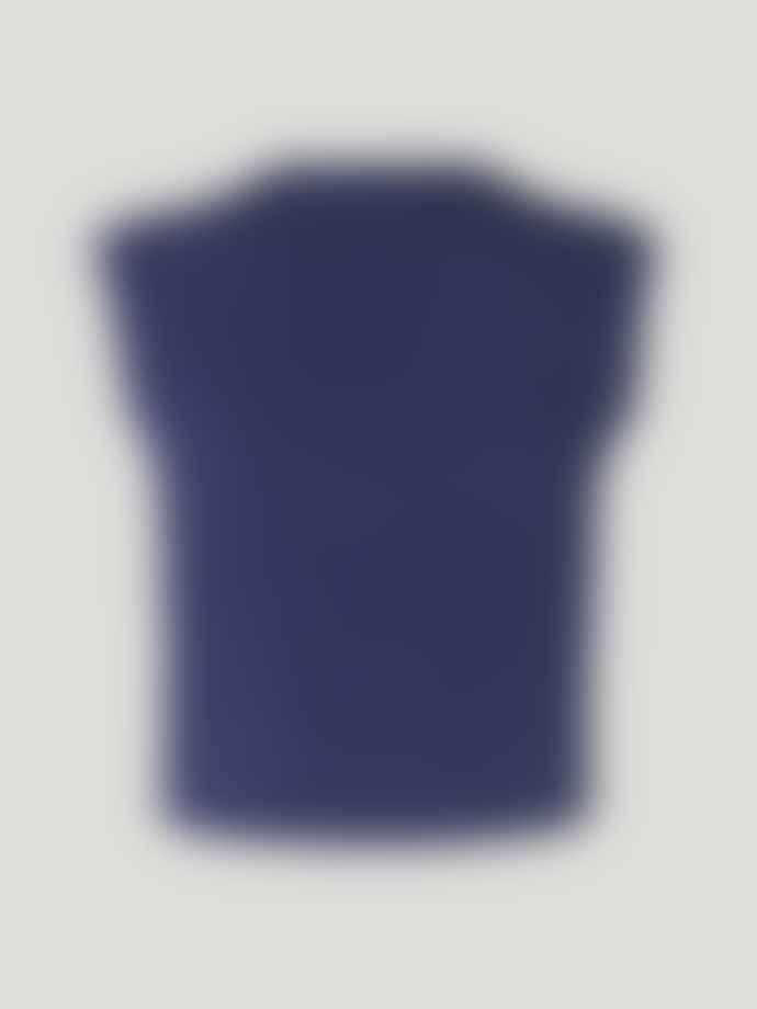 Baum und Pferdgarten Medium Blue and White Crochet Cicilla Vest