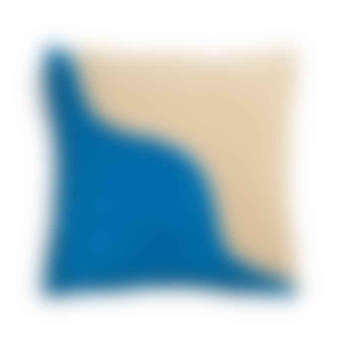 &klevering Wavy Sqaure Cushion Blue