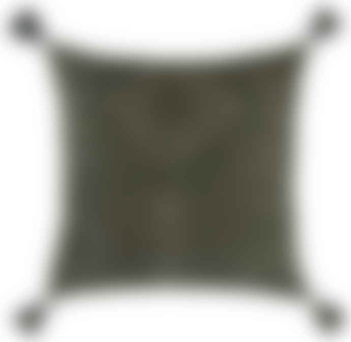 The Painted Bird Olive Green & Cream Stitched Cushion