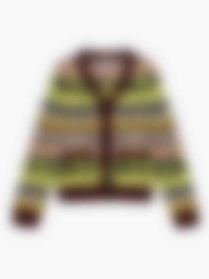 Ganni Recycled Wool Smiley Cardigan Multicolour