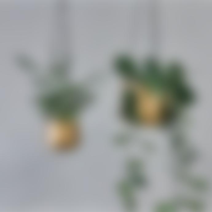 Nkuku Small Brass Atsu Hanging Planter
