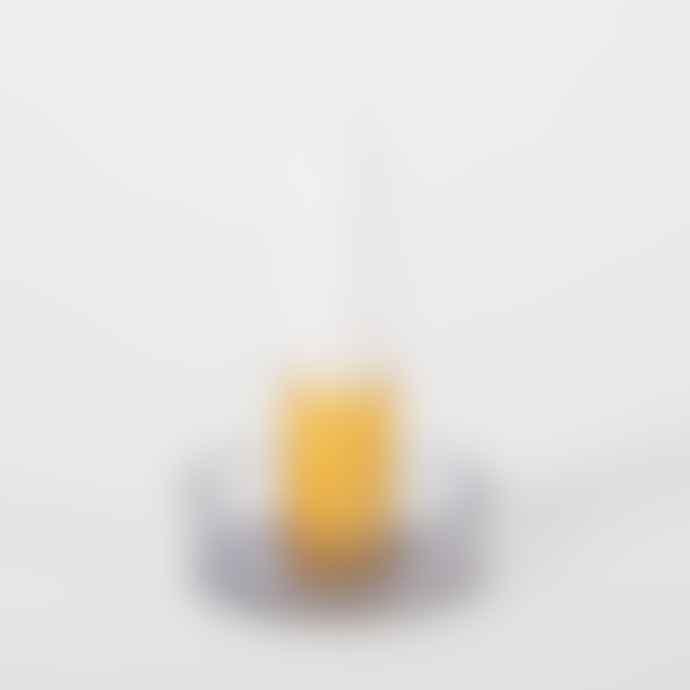 Block Design Duo Tone Glass Candlestick Grey/Orange